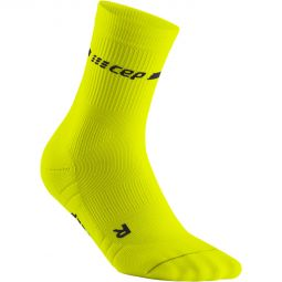 Mens CEP Neon Mid Cut Compression Running Socks