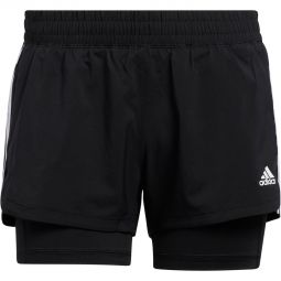 Womens adidas Pacer 3-Stripes 2 In 1 Running Shorts